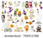 set of halloween sign  symbol ... | Shutterstock .eps vector #705911788