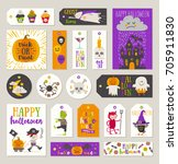 set of halloween gift tags and... | Shutterstock .eps vector #705911830