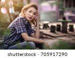 beautiful girls in fashionable... | Shutterstock . vector #705917290