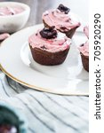 chocolate coffee cupcakes with... | Shutterstock . vector #705920290