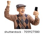 senior with a phone gesturing... | Shutterstock . vector #705927580