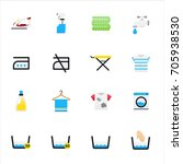 laundry and washing icons.... | Shutterstock .eps vector #705938530