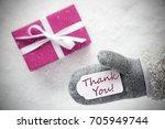 pink gift  glove  text thank... | Shutterstock . vector #705949744