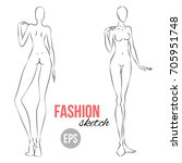 vector outline girl model... | Shutterstock .eps vector #705951748