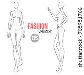 vector outline girl model... | Shutterstock .eps vector #705951766
