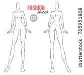 vector outline girl model... | Shutterstock .eps vector #705951808