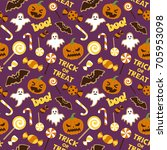 halloween vector seamless... | Shutterstock .eps vector #705953098