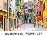 view of the colorful venetian... | Shutterstock . vector #705954259