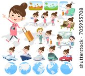 set of various poses of... | Shutterstock .eps vector #705955708