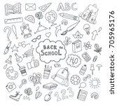 school and education doodles... | Shutterstock .eps vector #705965176