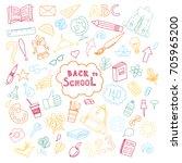 school and education doodles... | Shutterstock .eps vector #705965200