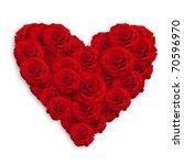 Stock photo fresh red roses in heart shape over white 70596970