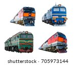 set of train locomotives... | Shutterstock . vector #705973144