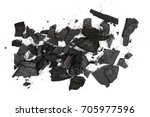 Small photo of Pile charcoal isolated on white background, xylanthrax, wood coal, top view