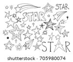 a set of sketches of stars and... | Shutterstock .eps vector #705980074