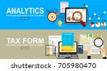 analytics information and... | Shutterstock .eps vector #705980470