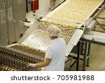 biscuit and waffle production... | Shutterstock . vector #705981988