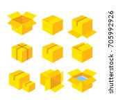 yellow carton recycle box icons ...