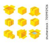 yellow flat carton gift yellow...   Shutterstock .eps vector #705992926