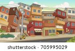 street of poor neighborhood in... | Shutterstock .eps vector #705995029