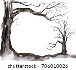 Watercolor Silhouette Of A Tree....