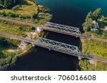 steel railway bridge from above ... | Shutterstock . vector #706016608