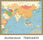 south asia map vintage color.... | Shutterstock .eps vector #706016653
