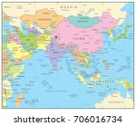 south asia political map.... | Shutterstock .eps vector #706016734