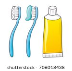 toothbrush and toothpaste... | Shutterstock .eps vector #706018438