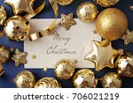 blank card and gold christmas... | Shutterstock . vector #706021219