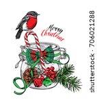 christmas card. mason jar with... | Shutterstock .eps vector #706021288