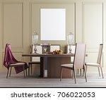 mock up poster in dining room ... | Shutterstock . vector #706022053