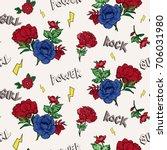 seamless rock   red roses... | Shutterstock .eps vector #706031980