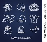 set of linear halloween icons ... | Shutterstock .eps vector #706032394