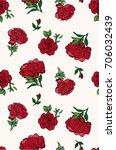 seamless trendy red roses... | Shutterstock .eps vector #706032439