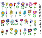 A Set Of Flowers Of Various...
