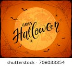 lettering happy halloween with... | Shutterstock . vector #706033354