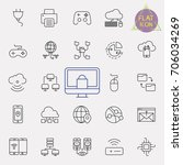 technology line icon set | Shutterstock .eps vector #706034269