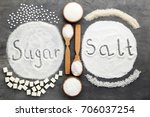 inscription sugar and salt on... | Shutterstock . vector #706037254