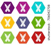 pencils icon set many color... | Shutterstock .eps vector #706042708