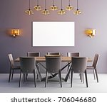 mock up poster in dining room ... | Shutterstock . vector #706046680