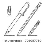 stationery set hand drawn... | Shutterstock .eps vector #706057750