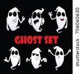 vector ghost sticker set. funny ... | Shutterstock .eps vector #706060630