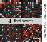 set of four seamless floral... | Shutterstock .eps vector #706064908