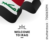 welcome to iraq. iraq flag.... | Shutterstock .eps vector #706065094