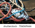 pulley and ropes on sailing boat | Shutterstock . vector #706069666