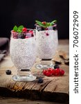 chia seed pudding and fruit   Shutterstock . vector #706072909