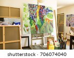 art studio with paintings and... | Shutterstock . vector #706074040