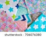 a lot of cotton cloth. satin... | Shutterstock . vector #706076380