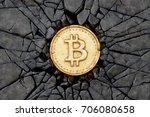 bitcoin breaking the rock. 3d...   Shutterstock . vector #706080658